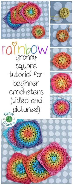 Rainbow granny square video tutorial for beginners, video tutorial for intermediate crocheters, and a picture tutorial on GamerCrafting