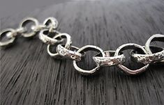 Textured Artisan Sterling Silver Rolo Link by VDIJewelryFindings