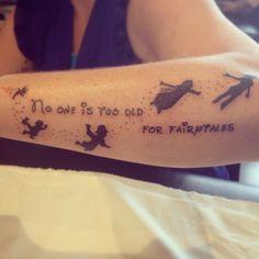 little disney's Peter Pan tattoo on the forearm