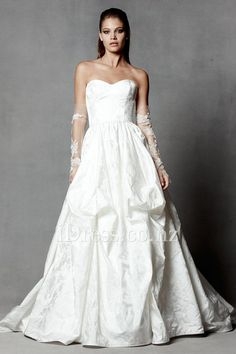 floral jacquard sweetheart pick-up wedding dress with ball gown skirt from idress.co.nz