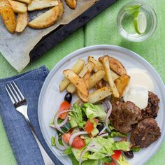 Beef Rissoles with Wedges with Salad