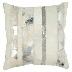 """Wrapped in rich cowhide, this pillow brings contemporary Western inspiration to your sofa, settee, or arm chair.   Product: Set of 2 pillowsConstruction Material: Cowhide and suedeColor: SilverFeatures: Insert includedReverses to solid suede backingDimensions: 18"""" x 18"""" Cleaning and Care: Dry clean recommended"""