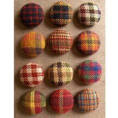 Use as cuff links. Plaid Fabric Buttons or Brads Homespun Harvest Hues by aimoobaroo, $6.00