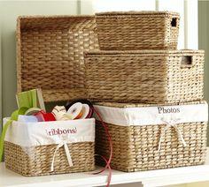 "Savannah Lidded Baskets | Pottery Barn Small: 13"" wide x 8"" deep x 6.5"" high"
