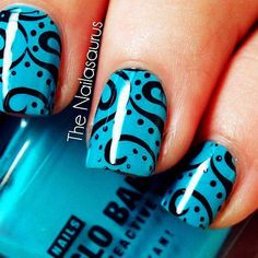 Blue nails with black dots and swirls Nail Design  - DIY NAIL ART DESIGNS