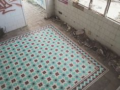 Spray Painted Tile Floor Installations by Javier De Riba