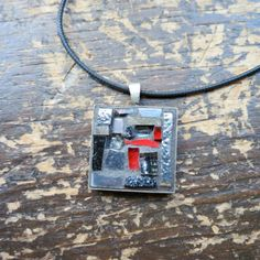 Grey and Red Mosaic Pendant by Margaret Almon of nutmegdesigns on Etsy
