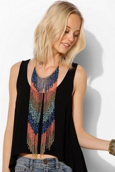 Flowing Beaded Statement Necklace #urbanoutfitters