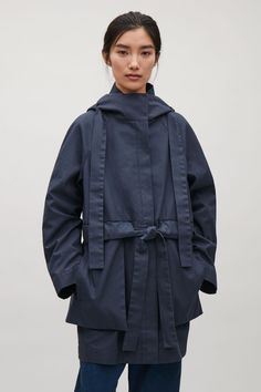 COS image 2 of Hooded canvas coat in Steel Blue