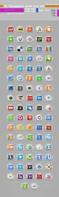 82 Transparent Social Icon set — Photoshop PSD #twitter #transparent icon • Available here → https://graphicriver.net/item/82-transparent-social-icon-set/5344703?ref=pxcr