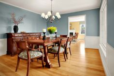 Assorted Dining Room Paint Colors for Your Home. Assorted Dining Room Paint Colors for Your Home: Bright retro dining room idea involving fine combination of gray along with white tone on wall to hit wood abundance