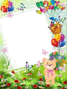 Happy Birthday Kids Transparent Photo Frame with Cute Bear Printable Baby Shower Invitations, Birthday Party Invitations, Birthday Cards, Birthday Photos, Happy Birthday Kind, Happy Birthday Decor, Frames Png, Picture Borders, Baby Frame