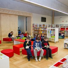 A children's area is located to the south with children's furniture, books and computers and a storytelling area, this space can be closed off completely if required