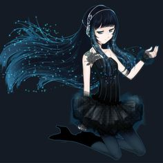 anime girl art black blue hair light