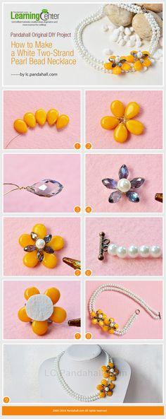 Collar perlas y dije flores