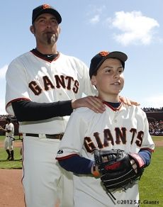 #SFGiants Jeremy Affeldt escorts Tyler Stow to throw out the ceremonial 1st pitch on Opening Day 2012