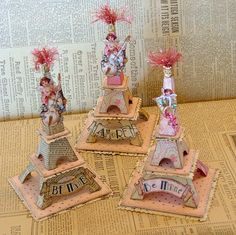 Heart Alert: Valentine Eiffel Tower Centerpieces ~ Constructed from party favor boxes (or kits?), this gem was available on Etsy in 2009 and is no longer available.  It's appealing enough to try and create your own! ♥♥♥