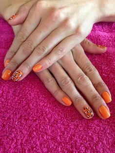 Gelish summer nail art with orange cream with leopard print fingers @ chic treats beauty , Leigh on sea Essex