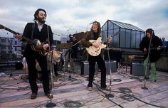 The Beatles giving their final public performance, on the roof of the Apple building in London, 1969.