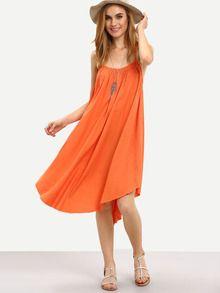 Orange Spaghetti Strap Backless Irregular Dress