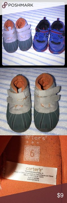 BUNDLE of baby boy shoes 🔆 Carter's - gray/green/orange - size 6 🔆 Avia - blue/red - size 7 Shoes