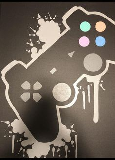 PlayStation Video Game Controller Painting Video Game Art Hand Painted Custom Colors Custom Wall - Playstation - Ideas of Playstation - - PlayStation Video Game Controller Painting Video Game Art Playstation, Xbox, Video Game Decor, Video Game Art, Game Controller, Console Style, Gamer Room, Gaming Wallpapers, Painting Videos