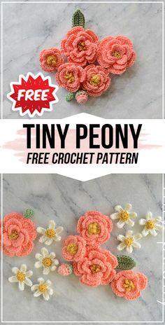 crochet bow pattern crochet Tiny Peony free pattern - easy crochet flower pattern for beginners Crochet Bow Pattern, Beau Crochet, Crochet Daisy, Crochet Flower Tutorial, Crochet Motifs, Thread Crochet, Crochet Crafts, Crochet Projects, Crochet Patterns