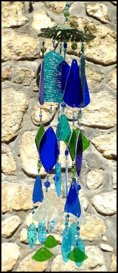 stained glass wind chime - windchime - Accent on Glass - www.AccentOnGlass.com