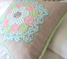 @Sarah Chintomby Chintomby Mandell White Sweet Violet: Pretty hexagon cushion with cross stitch centre