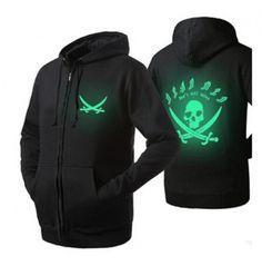 Fleece skull zip up hoodies for men cool luminous college sweatshirts