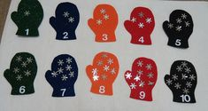To the Lesson!: January Math - Counting Snowflakes on Mittens