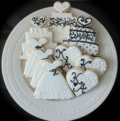 Black and White Decorated Wedding or Engagement Cookies