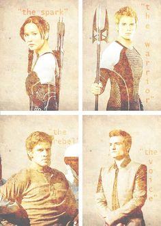 Katniss -- Finnick -- Gale -- Peeta. I love this. I do love a rebel.....