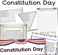 Lots of great FREE Constitution Day printables - Constitution Day themed… Classroom Banner, Classroom Ideas, Government For 2nd Grade, American Symbols, American History, School Items, School Stuff, School Fun, Sunday School
