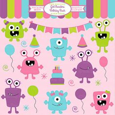 monster aliens clipart clip art birthday party - Girl Monsters Birthday Bash Clipart