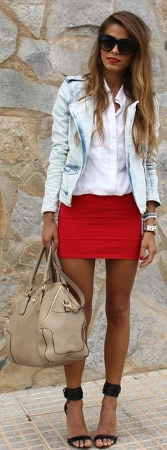 Summer design outfits incorporates Tank tops,Halter tops,Summer tees and strapless shirts. We have 31 Top summer outfits for women Bandage Skirt Outfit, Skirt Outfits, Cute Outfits, Casual Outfits, Denim Fashion, Girl Fashion, Fashion Outfits, Fashion Night, Runway Fashion
