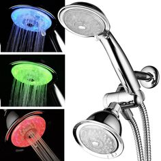 The Multi-Function LED Shower Combo with Air Turbo Pressure Boost Nozzle Technology by Luminex includes a LED shower head and a LED hand shower. You can use each of the LED shower heads separately or use both the LED shower head and LED. Double Shower Heads, Led Shower Head, Shower Hose, Shower Arm, Shower Faucet, Shower Fixtures, Shower Bathroom, Small Bathroom, Bathroom