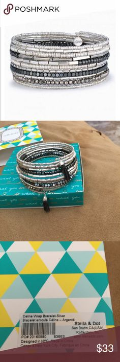 Stella & Dot Celine Silver Wrap Bracelet, NIB Stella & Dot Celine Silver Wrap Bracelet, NIB. Semi-precious hematite, metallic, and shiny silver beads coil wrap bracelet with alternating beads add dimension and interest to this coil wrap bracelet. Finished with delicate mini tassels.  Mixed Metal Plating Adjusts to Fit SM-LG Wrists Available in semi-precious hematite Stella & Dot Jewelry Bracelets