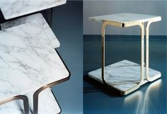 Msé - Marble and brass side table