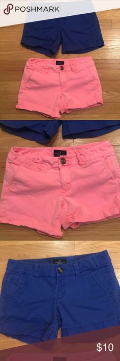 LOT OF TWO American Eagle Colorful Shorts Size 0 Reasonable offers considered 🛍 Bundle 2 or more items and save! 🎁 Bundle 5 items and I will reimburse the shipping fee 🎉. Super cute Shorts! Includes: 1) American Eagle midi Stretch pink Shorts Size 0; 2) American Eagle midi Stretch blue Shorts Size 0. Preloved and in good condition! American Eagle Outfitters Shorts