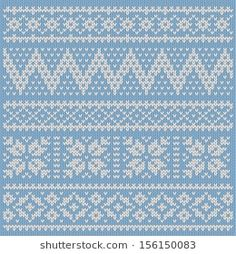Knitted pattern white on blue