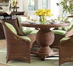 Palmetto All-Weather Wicker Round Pedestal Dining Table & Chair Set - Honey #potterybarn