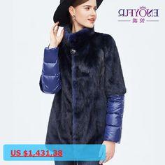 ENJOYFUR Womens Winter Fur Coat Genuine Mink Fur Coats Full Pelt Mink Coats Of Fur Real Mink Down Jackets Thick Warm