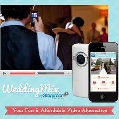 Since videographers are a fortune, Storymix's innovative solution is to send the wedding couple 5HD cameras in the mail 3 days before the wedding weekend. The couple passes them out to the wedding guests througout the festivities to record & the couple returns cameras to Storymix to edit. Storymix then edits the footage into an awesome video.