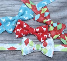 Christmas Bow Ties for Boys  Holiday Tie Set  Father by littlevys, $18.00