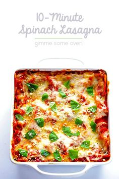 This Spinach Lasagna recipe is quick and easy to prep and SO delicious! Easy Lasagna Recipe, Easy Pasta Recipes, Dinner Recipes, Lasagna Recipes, 10 Minute Meals, Crispy French Fries, Vegetarian Recipes, Healthy Recipes