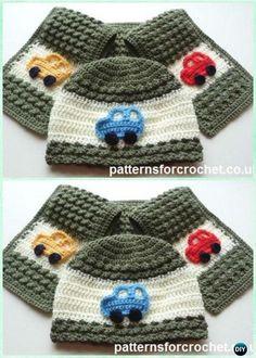 DIY Crochet Kids Car Hat Scarf Set Free Pattern Instruction-Crochet Beanie Hat Free Patterns