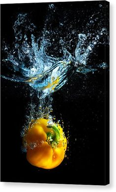 Bell Pepper Splash Canvas Print / Canvas Art by Dung Ma - I have a reason I swear - Obst High Speed Photography, Splash Photography, Fruit Photography, Background For Photography, Still Life Photography, Photography Backgrounds, Photography Ideas, Photography Aesthetic, Abstract Photography