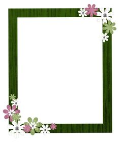 Photo Frame With Green Border Flowers Photo Frames, Backgrounds. Butterfly Frame, Flower Frame, Arabesque, White Flower Tattoos, Photo Frame Decoration, Boarders And Frames, Boarder Designs, Project Life Scrapbook, Transparent Flowers