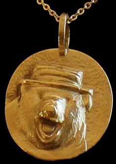 """""""Circus Bear"""" Of course, each of the glories on their own makes a beautiful necklace. To make it really special, ask me about having a personalized name or message scribed on the back. Each of the glories are 7/8th of an inch across and hang beautifully on your throat or wrist."""